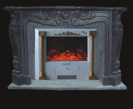 Black Marble Fireplace Model 7 French Mantel
