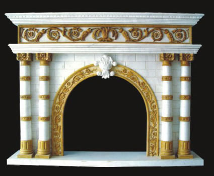 Model 24 Marble Mantel - Gold - Columns - White
