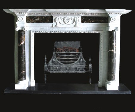 Model 55 Marble Fireplace Mantel Columns Brown