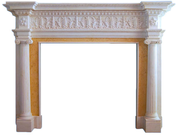 Hand Carved Real Stone Fireplace Mantel Column Style Idea