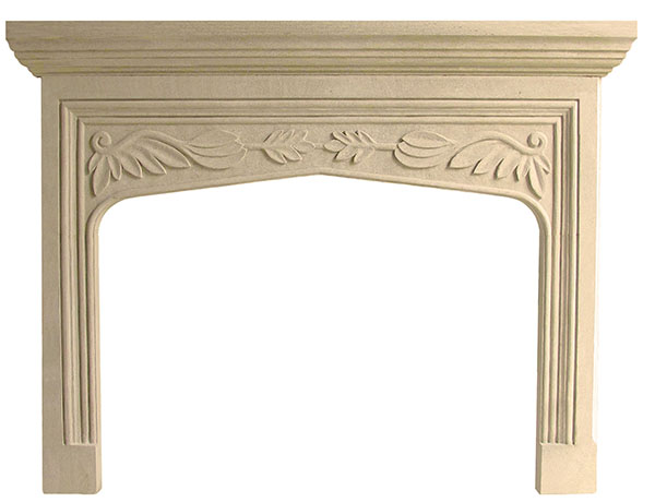 Traditional tudor fireplace mantel english style limestone for Tudor style fireplace