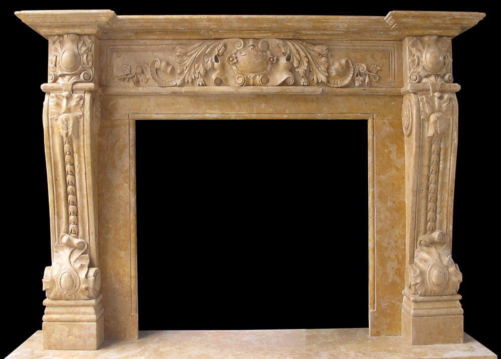 Sale marble fireplace mantels limestone surrounds for Marble mantels for sale